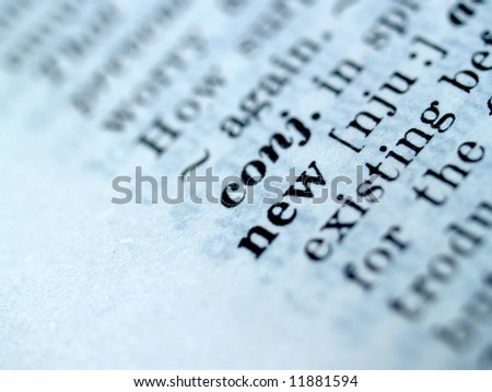 a photo of  new   word in dictionary - stock photo