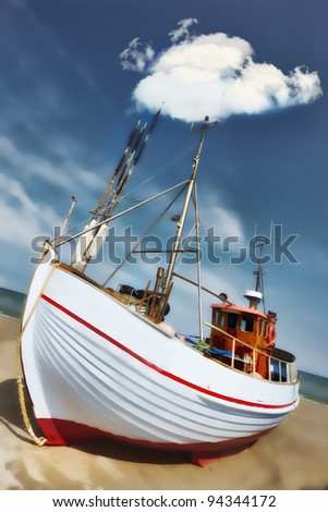 A photo of old fishing boat - stock photo
