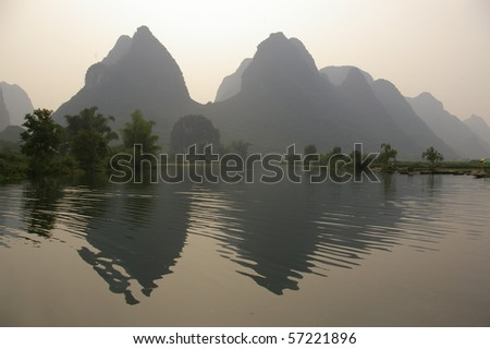 A photo of river, Yangshuo, China. - stock photo