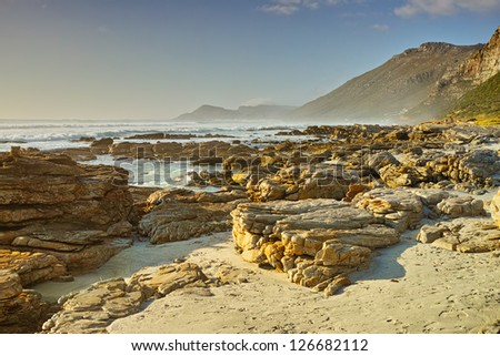 A photo of The coast near Cape Town, South Africa. - stock photo