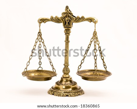 A photo of the scales of justice with a balance theme overlay - stock photo