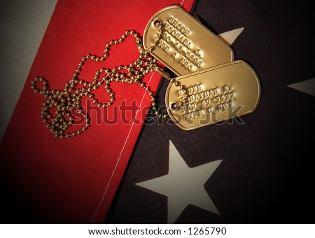 A photo of Vietnam War Tags (Fictional Names and Social Security Numbers) - stock photo