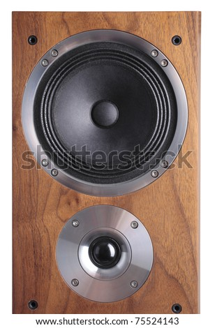 a photo of wooden-coloured speaker over white - stock photo
