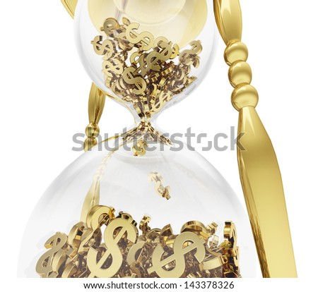 A photo realistic close up rendering of a golden hourglass filled with dollars instead of sand isolated on white(series).Time is money-Concept - stock photo