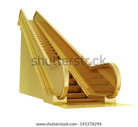 A photo realistic golden escalator isolated on white (series) .The rendering has even tiny scratches. - stock photo