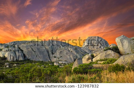 A photo sunset at mountain top, Lions Head,  in Western Cape,  South Africa - stock photo
