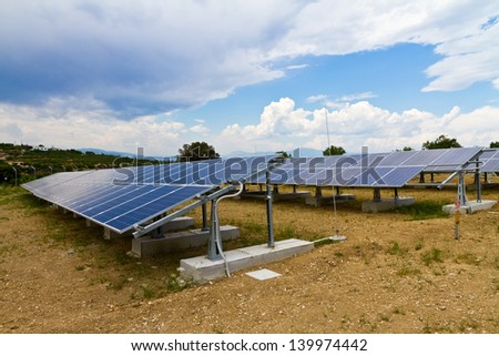 a photo voltaic park in Greece - stock photo