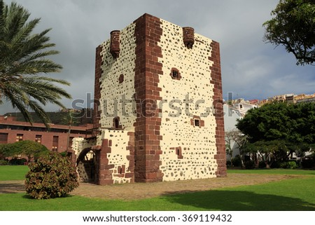 A photograph of Torre del Conde in San Sebastian, La Gomera, Canary Islands, Spain. Torre del Conde is considered the Canary Islands most important example of military architecture. - stock photo