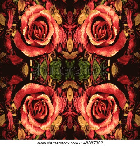 A photographic  pattern made out of artificial pink rose and potpourri  - stock photo