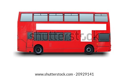 A photography of a red London bus - stock photo