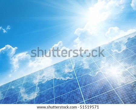 A photography of a solar panel background - stock photo