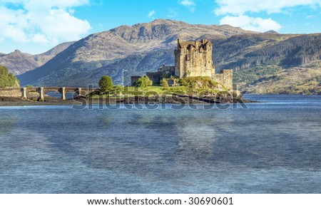 A photography of the Eilean Donan Castle in Scotland - stock photo