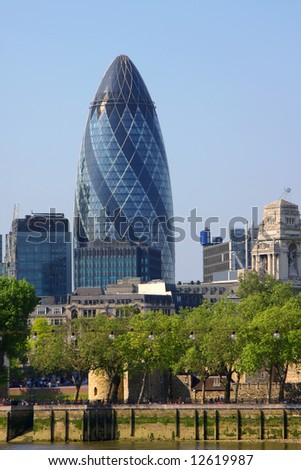 A photography of the huge london gherkin - stock photo