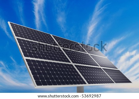 A photovoltaic panel. Solar power plant. - stock photo
