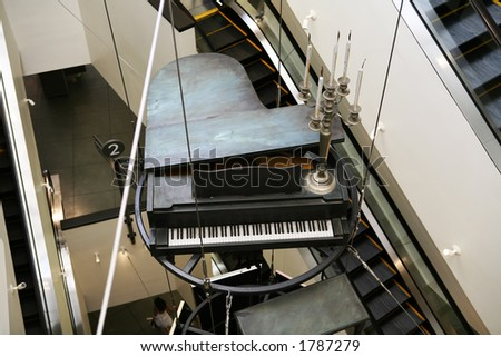 A piano hanging as decoration