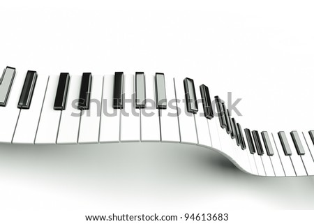a piano keyboard waves on white - stock photo