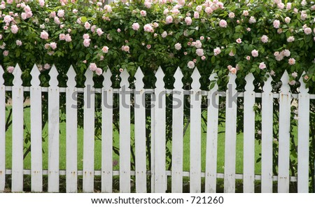 A picket fence topped by flowers.