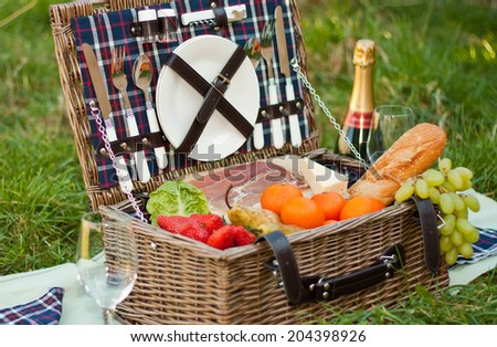 A picnic basket with food and champagne  - stock photo