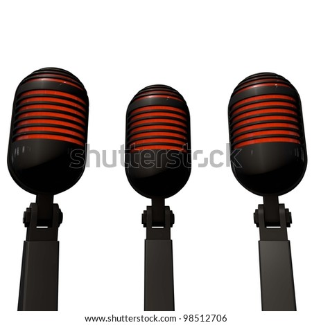 a pictogram of microphones to symbolize public relations - stock photo