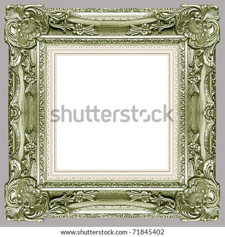 a picture green frame on a grey - stock photo