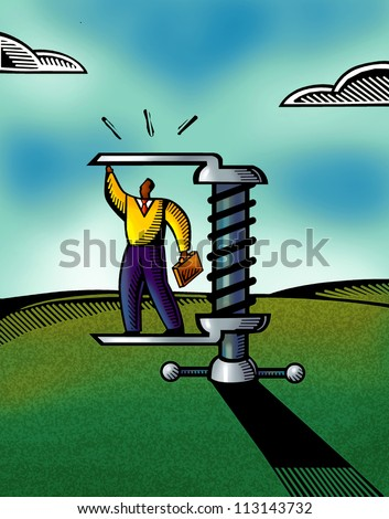 A picture of a businessman standing on a tool - stock photo