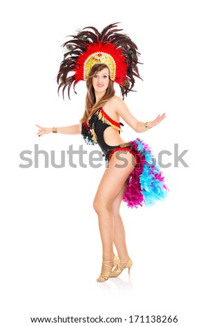 A picture of a carnival girl posing over white background - stock photo