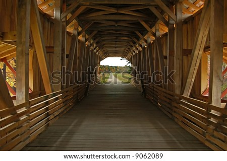 A picture of a covered bridge from the inside taken in Indiana - stock photo