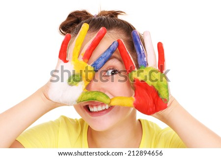 A picture of a happy girl with painted hands over white background