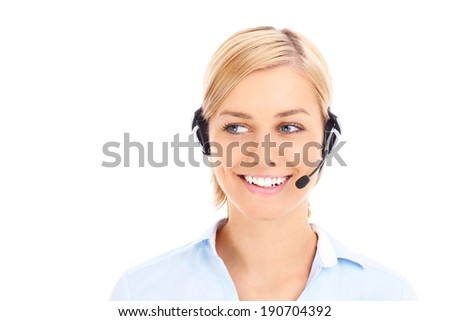 A picture of a happy teleworker looking over white background