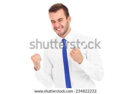 A picture of a successful businessman cheering over white background - stock photo