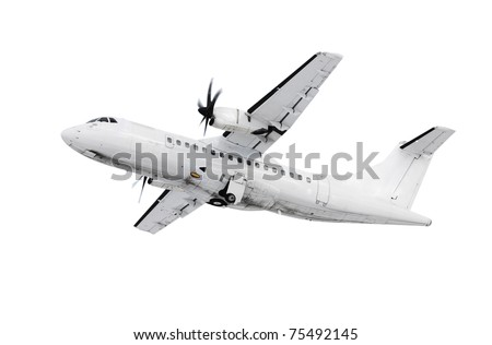 A picture of a white plane takinf off  /landing over white background