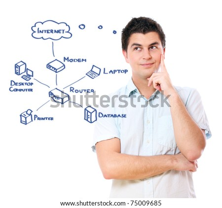 A picture of a young businessman and an Internet diagram over white background - stock photo