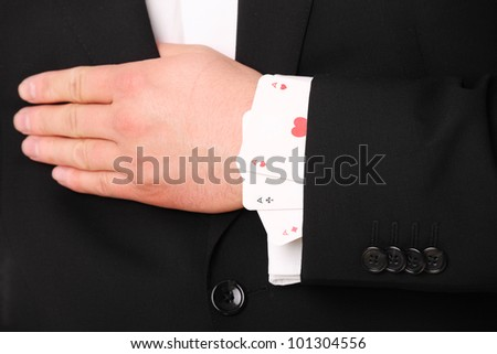 A picture of a young businessman hand holding three aces - stock photo