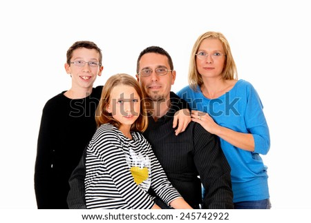 A picture of a young family with a daughter and son standing isolated for white background.  - stock photo