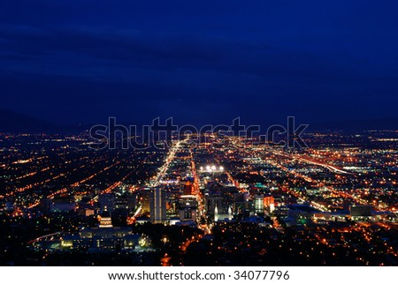 A picture of downtown Salt Lake City, UT at night. - stock photo