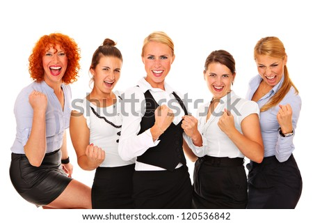 A picture of five happy successful businesswomen cheering over white background