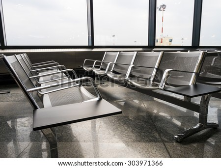 A picture of new departure lounge banches at the airport - stock photo