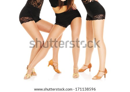A picture of sexy female legs over white background
