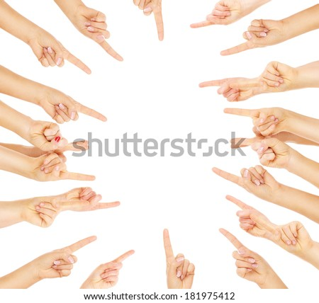 A picture of team of people pointing over white background