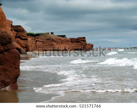 A picture of the waves at the Magdalen Islands in North America