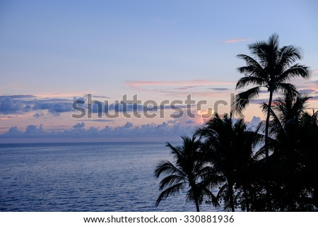 A picture perfect Florida Keys Sunrise with silhouetted palm trees from the top of the old seven mile bridge - stock photo
