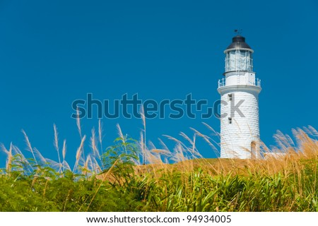 A picturesque scene of long grass in the foreground of the Dongju lighthouse on Juguang Island on the Matsu Islands in Taiwan - stock photo
