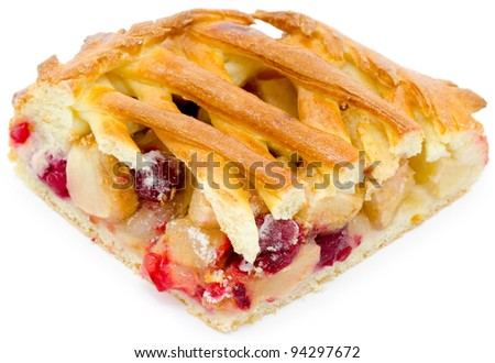 a piece of a fresh pie with apples, strawberries and cherries - stock photo