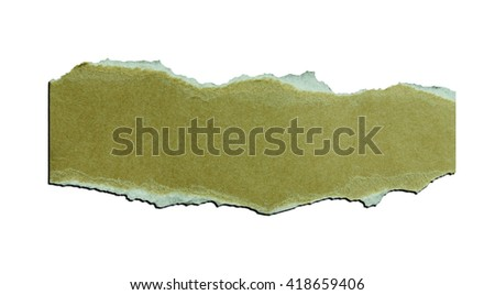 a piece of blank torn note paper isolated over white background with clipping path. - stock photo