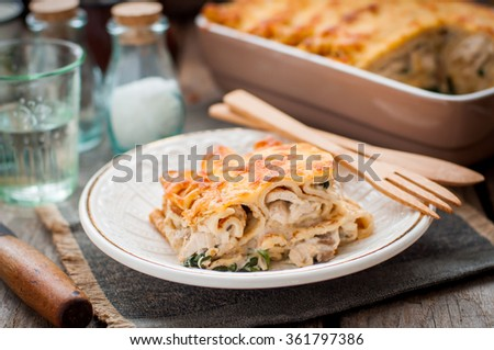 A Piece of Cheese Crusted Crepe Bake - stock photo