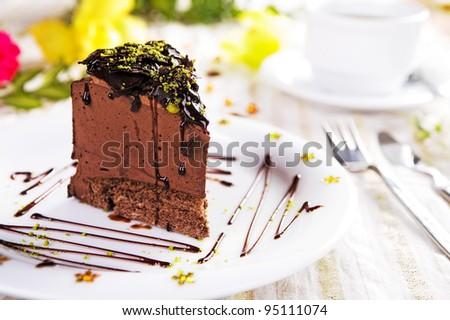 A piece of chocolate cake - stock photo