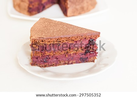 A piece of chocolate cake with black currant cream on a white plate