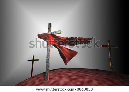A piece of cloth caught on a cross in the wind - stock photo