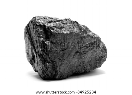 a piece of coal isolated on white - stock photo