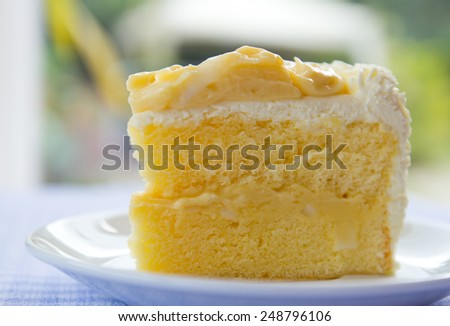 a piece of coconut cake on plate with napery - stock photo